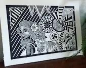 Flowers Girl Handmade Art Print Linocut