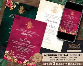 indian wedding invitations etsy