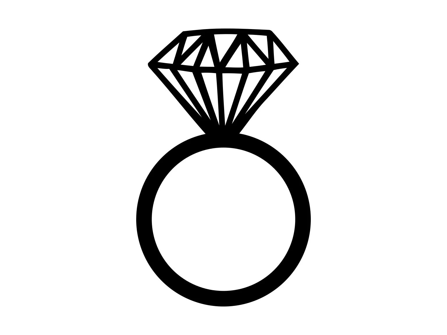 Diamond Ring Svg Silhouette Cutting File Clipart
