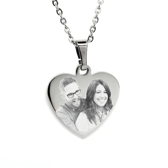 Engraved Heart Pendant Necklace