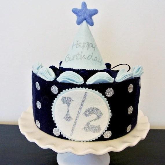 Half Birthday Cake Set Blue Silver Felt Cake Half Etsy