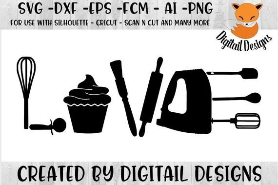 Download Love Baking SVG png dxf eps fcm ai Cut File   Etsy