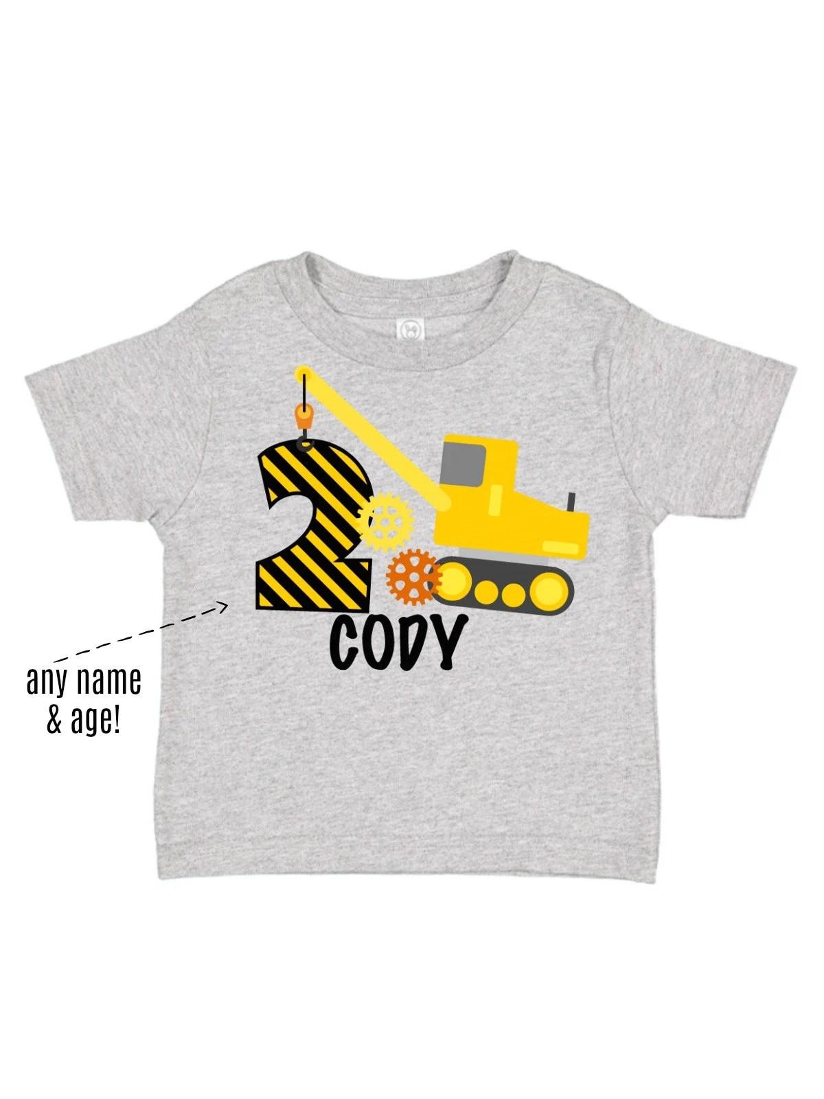 Boys Construction Excavator Birthday T Shirt Personalized Etsy