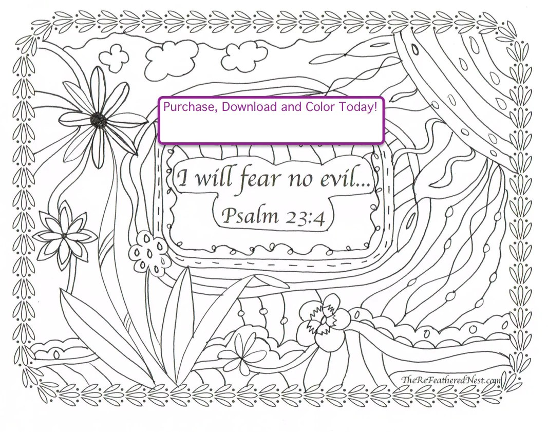 Psalm 23 4 Downloadable Scripture Coloring Page I Will