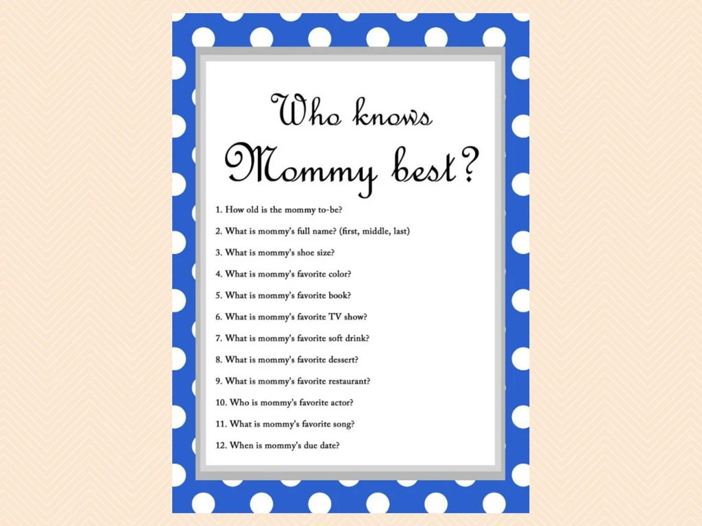 Blue Polka Dots Baby Shower Game Who Knows Mom Best Who