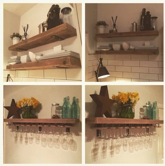 Reclaimed Wood Made To Measure Chunky Kitchen Shelves Metal Etsy