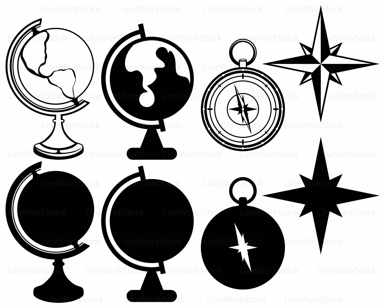 Globe Svg Globe Clipart Compass Svg Globe Silhouette Globe