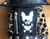 """Dog Faux  leather jacket- """"Meow"""""""
