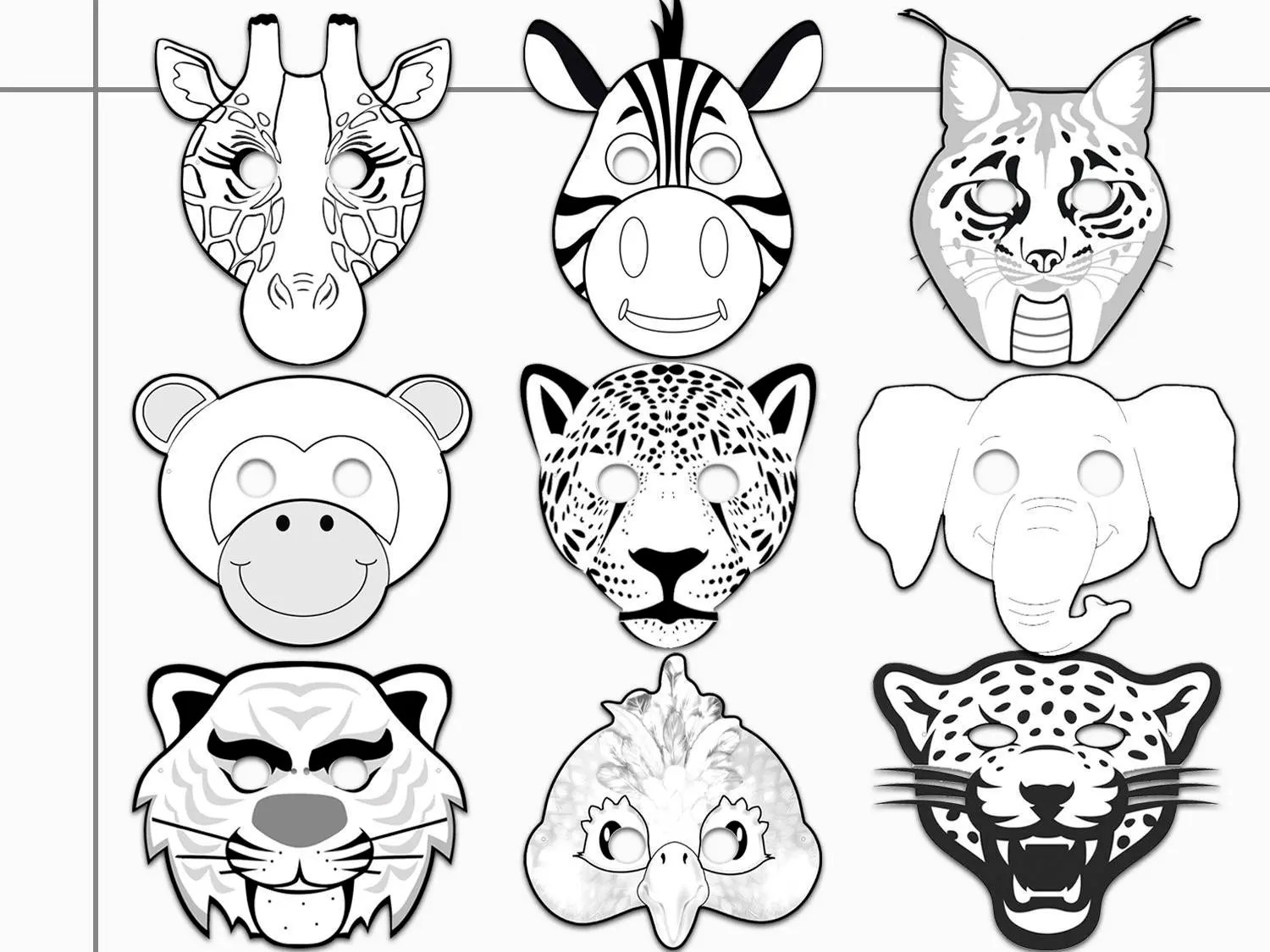 Jungle Animals Printable Coloring Masks Jaguar Tiger