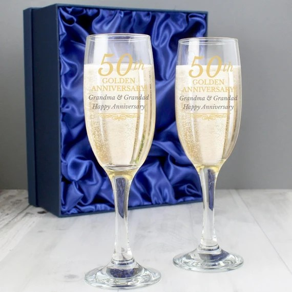 Personalised 50th Golden Anniversary Pair of Flute