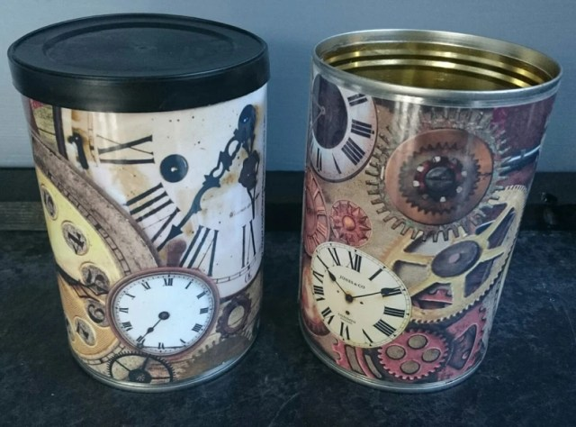 Steampunk Gothic Vintage tin cans wedding centerpieces, storage, cutlery holders, cafes, shop, bars restaurants, gifts. Optional lids.
