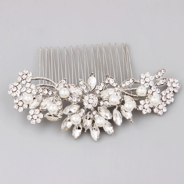 bridal hair comb silver, bridal hair piece, pearl hair comb, wedding hair comb, crystal hair comb, bridal headpiece, bridal hair accessories