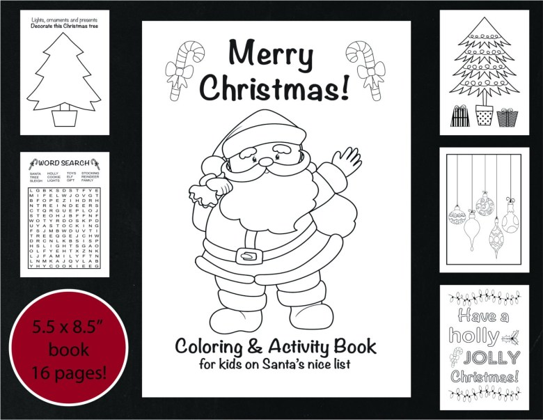 christmas coloring and activity book printable christmas | etsy
