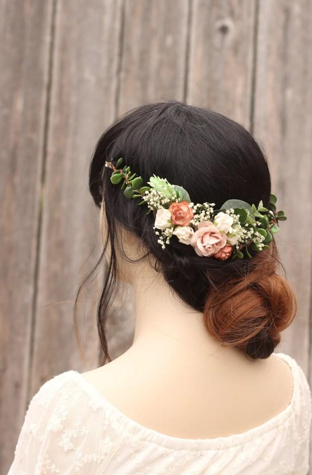 eucalyptus baby breath half flower crown rustic, wedding hair accessories, bridal hair piece, hair comb, champagne rose blush wedding comb