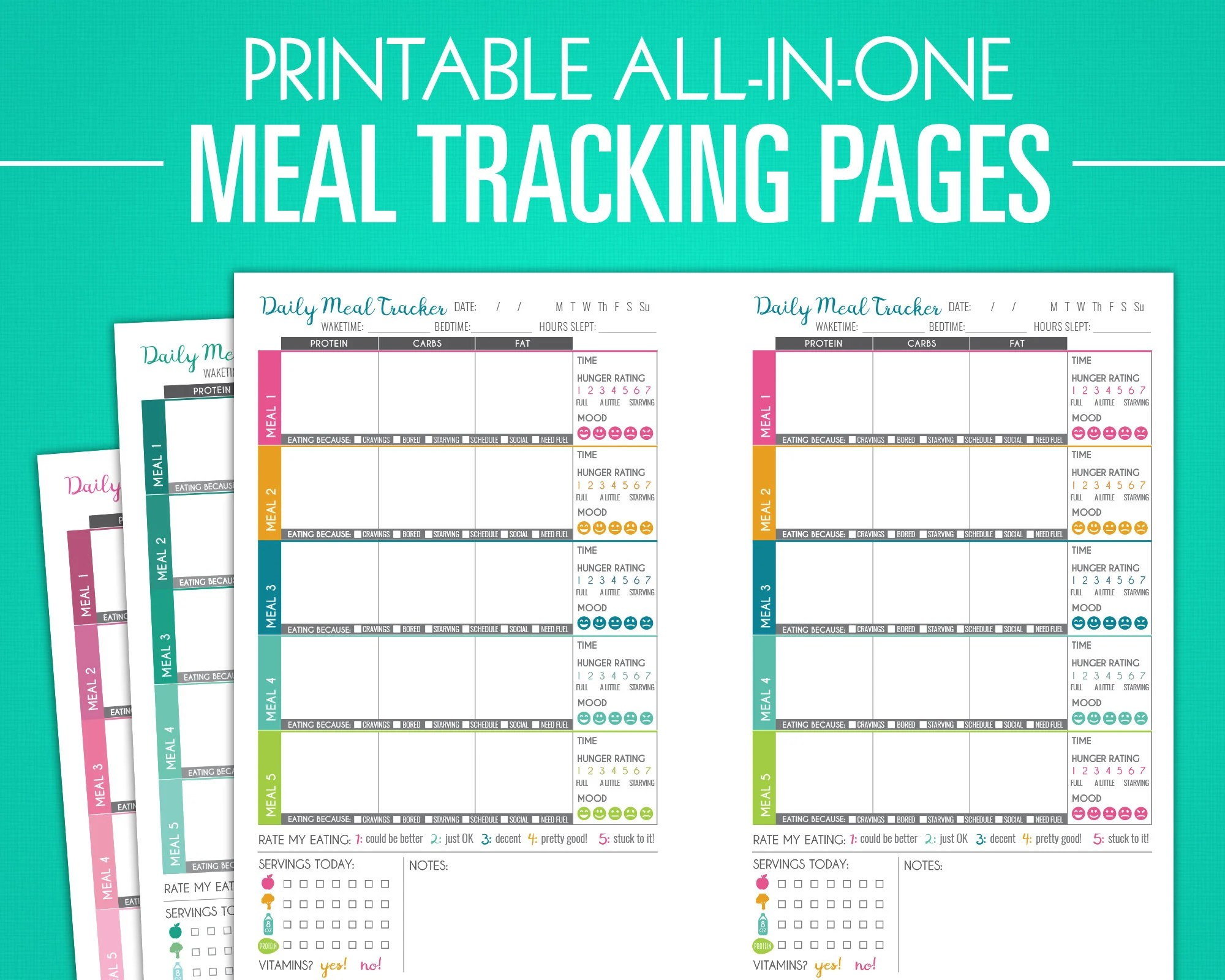Printable Meal Tracking Pages