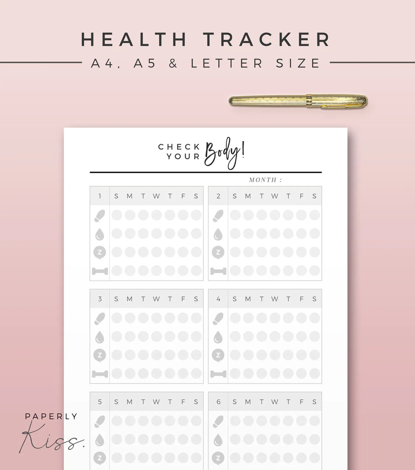 Health Habit Tracker Printable Planner Inserts A4 A5