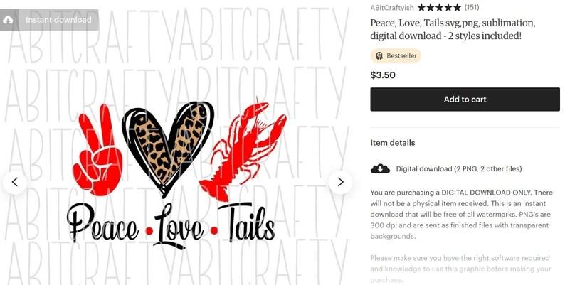 Download Peace Love Crawfish/Tails svgpng sublimation digital   Etsy