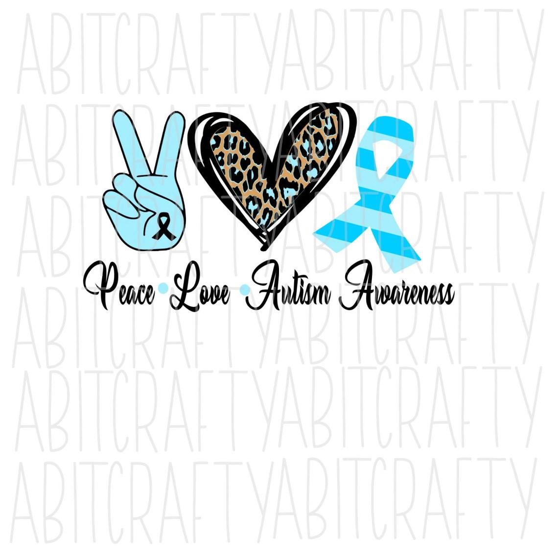 Download Peace Love Autism Awareness SVG PNG Sublimation cricut | Etsy