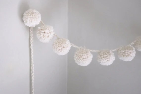 Large Wool Pom Pom Garland