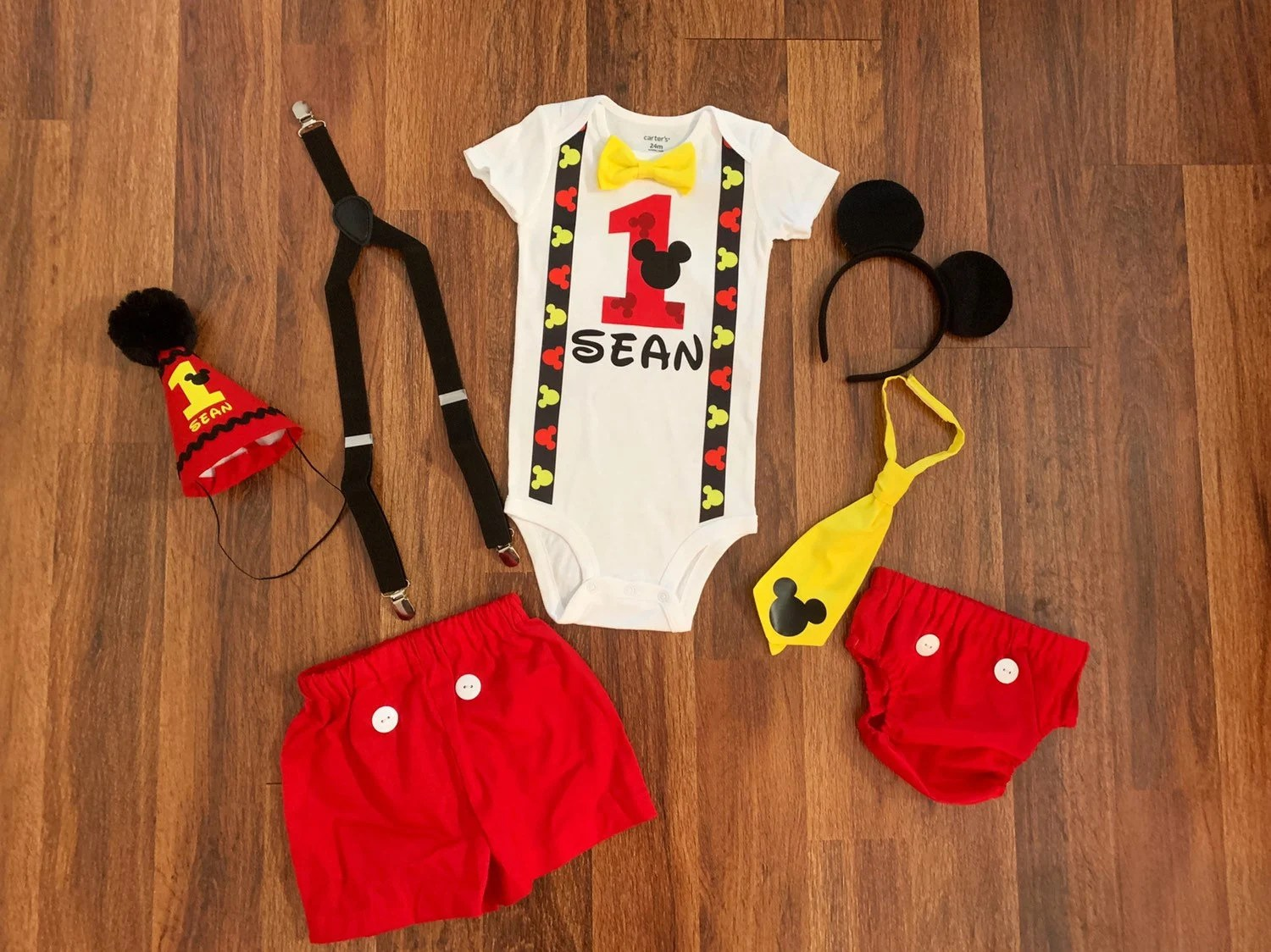 Mickey Mouse First Birthday Outfit Boy Suspenders 1st Etsy