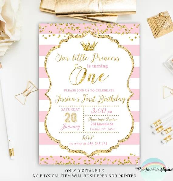 Princess Invitation Princess First Birthday Invitation Pink Etsy