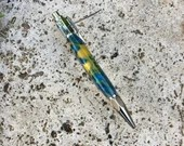 Blue and Yellow Coloured Resin Vertex Pen With Chrome Accents, Handcrafted