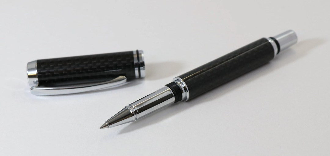 Rollerball Carbon Fibre Baron II Pen With Chrome Accents, Handcrafted