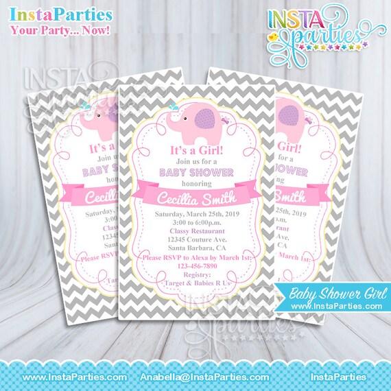 Extraordinario Invitaciones De Baby Shower De Elefantes Para Nina