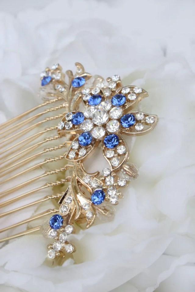 sapphire blue something blue gold wedding bridal hair comb hair accessories clear rhinestone swarovski crystal blue bridesmaid hair combs