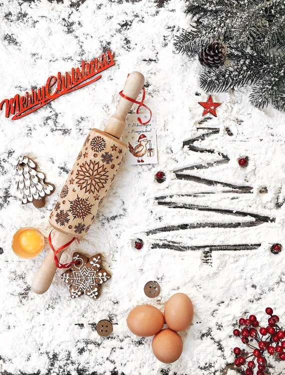 Foodie gift guide: festive wood rolling pin in a Christmas themed background