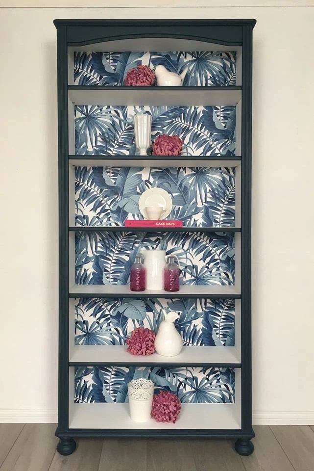 Painted Bookcase With Decoupage Display Shelving Office Storage Beautiful Palm Print Paper