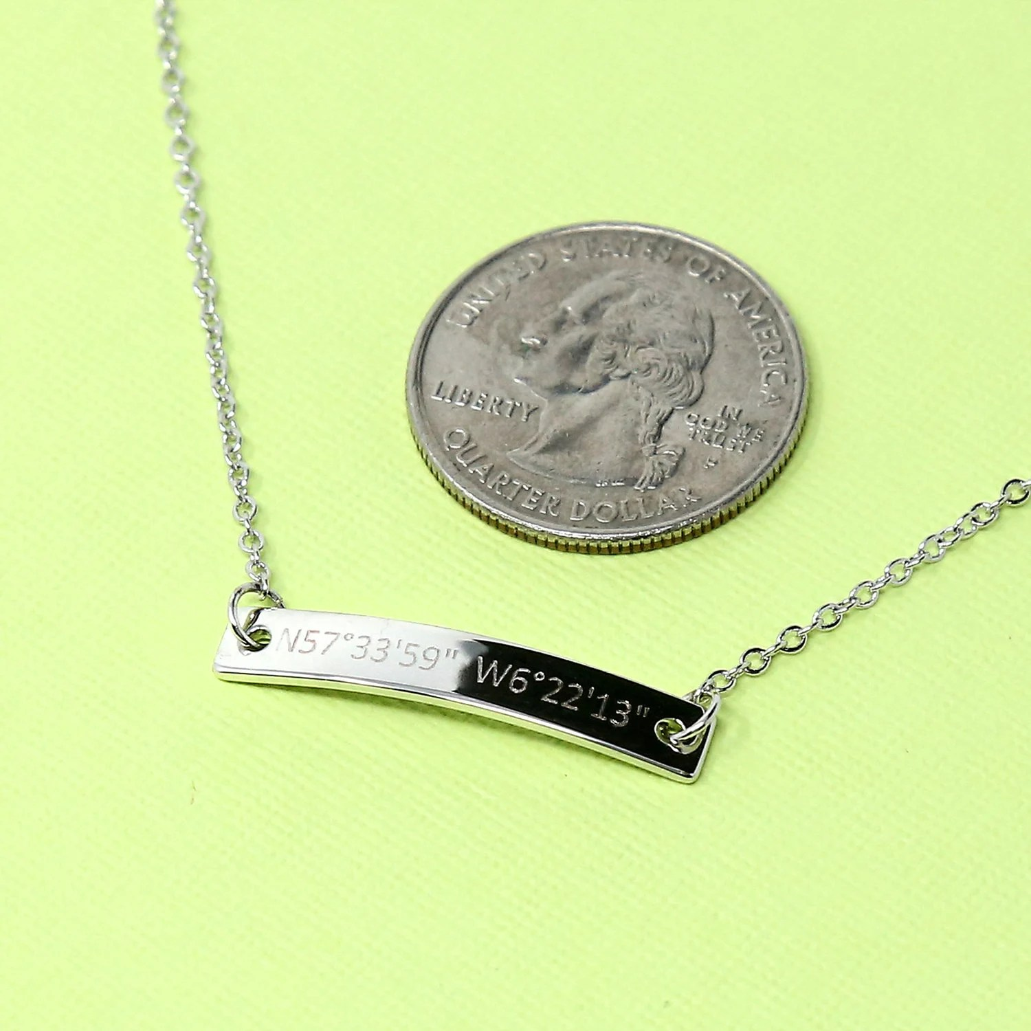 Engraved Necklaces Name bar necklace Personalized Engraved image 4