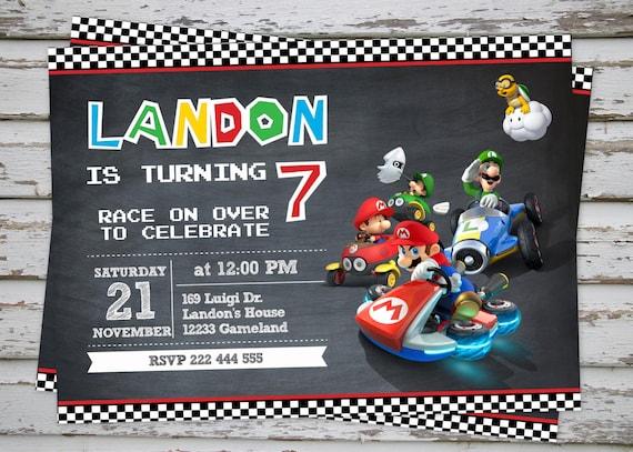 Mario Kart Birthday Party Invitation Super Mario Birthday Etsy
