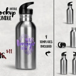 Sublimation Stainless Steel Water Bottle With Straw Mockup Etsy