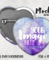 Heart Shaped Pinback Button Mockup Template With Front And Etsy