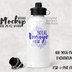 Dye Sublimation 600ml 20oz White Water Bottle Mockup Add Etsy