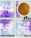 Square Glass Sublimation Coaster Mockup Top View With Coffee Etsy