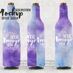 Dye Sublimation Wine Bottle Sleeve Mockup Template Add Your Etsy