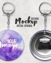 Button Bottle Opener Mockup Template With Front And Back View Etsy
