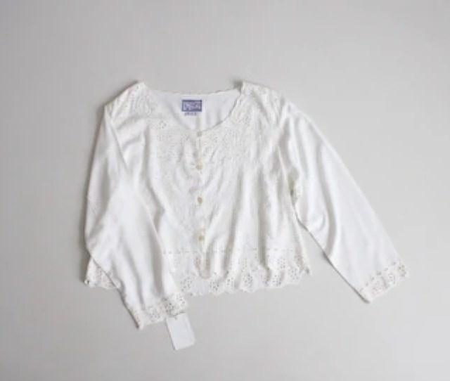 White Lace Blouse Long Sleeve White Blouse White Cut Out Blouse