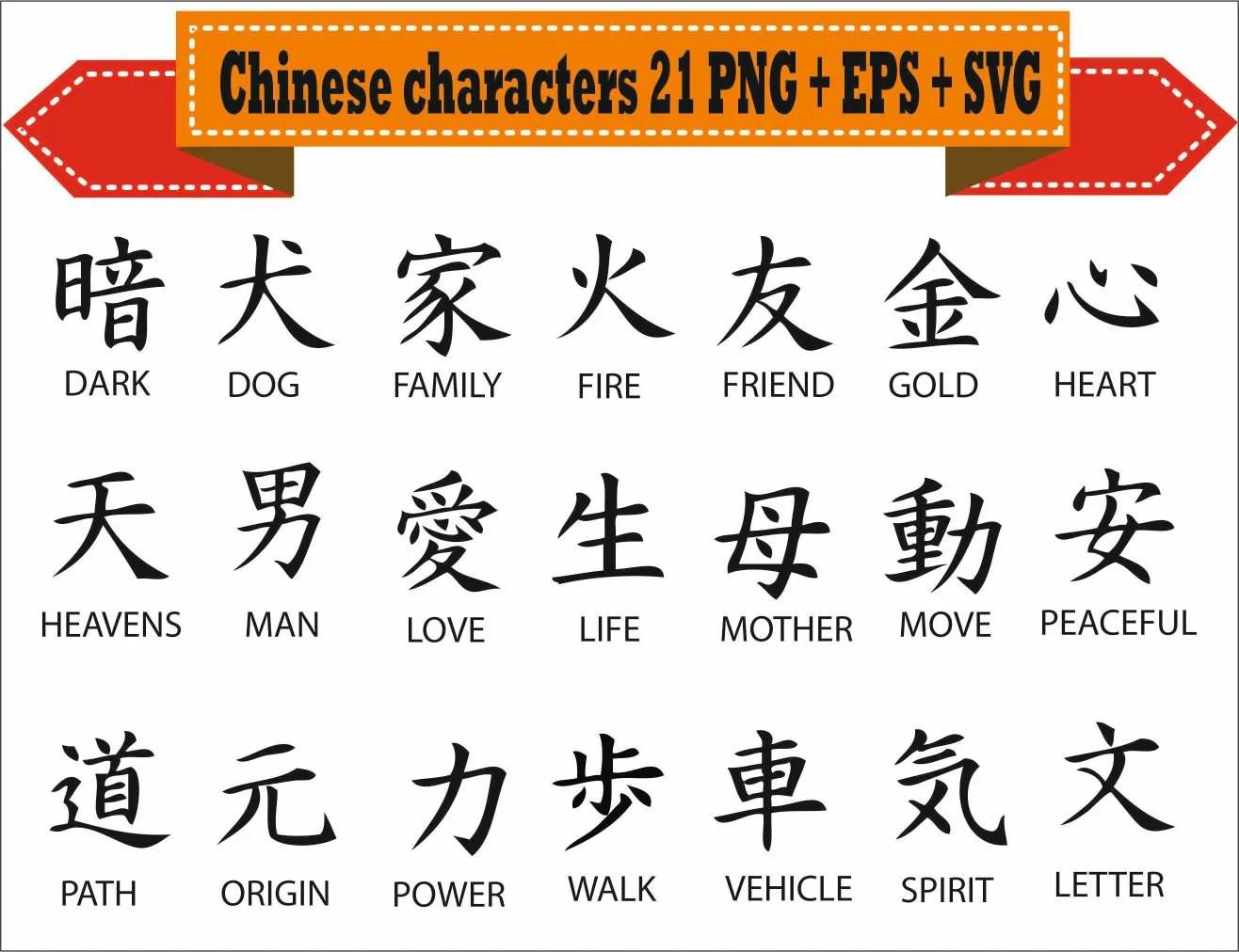 Chinese Characters Traditional Word Symbols Kanji