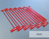 Set of Thin T-Spacers (Metric) Gauges/Straightedges for Bookbinding, Cartonnage, and Other Crafts (2.5 mm high, 3d-printed, Mark II)