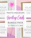 A5 White Card Mockup Bundle 4 X Card Mock Ups Greeting Etsy