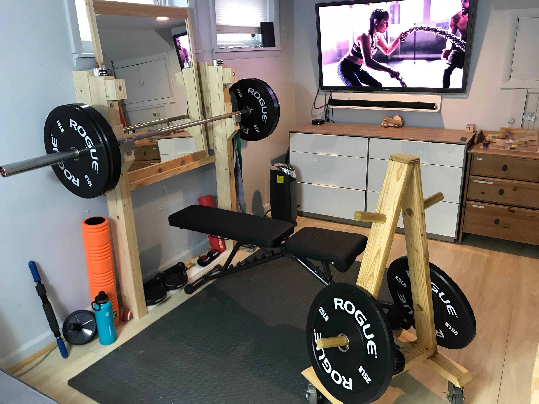 wood minimalist squat rack bench press multi function strength training equipment best space saving power rack durable sturdy built
