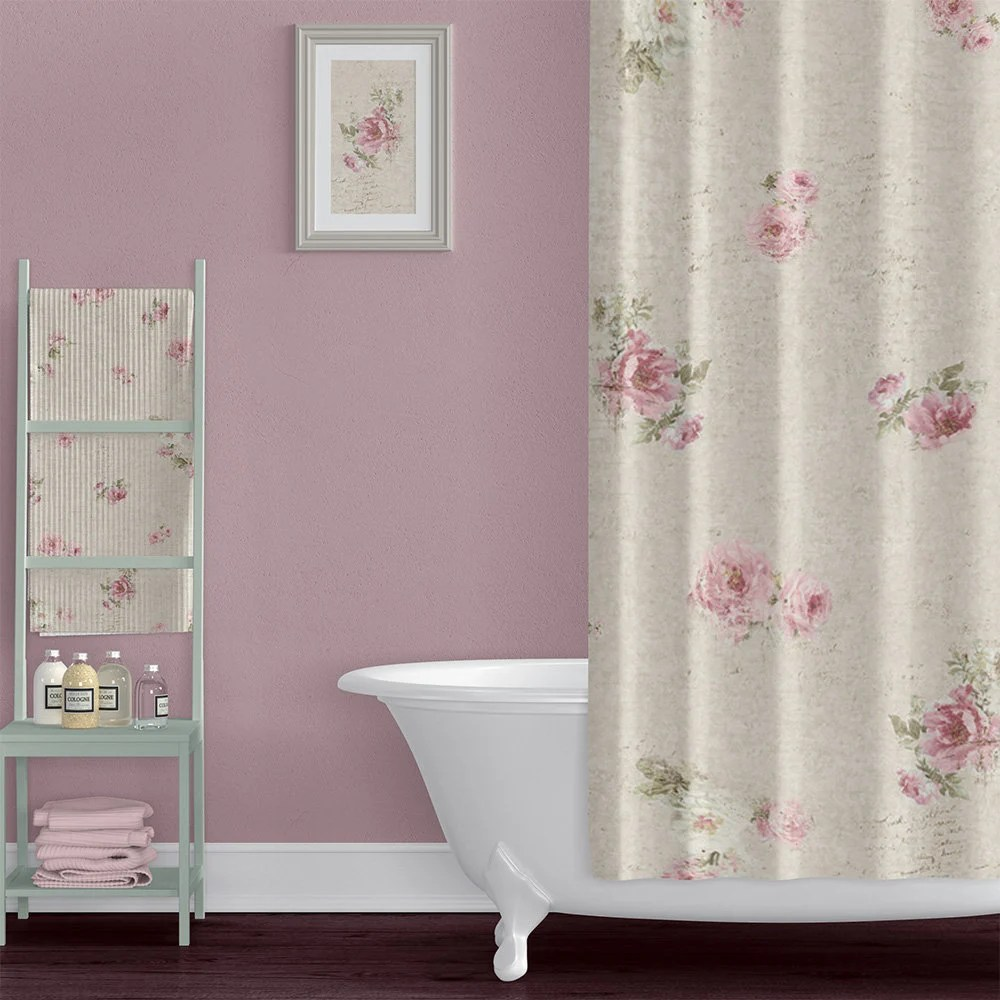 shabby chic style farmhouse shower curtain with rose floral fabric extra long floral shower curtains cream pink floral bathroom decor