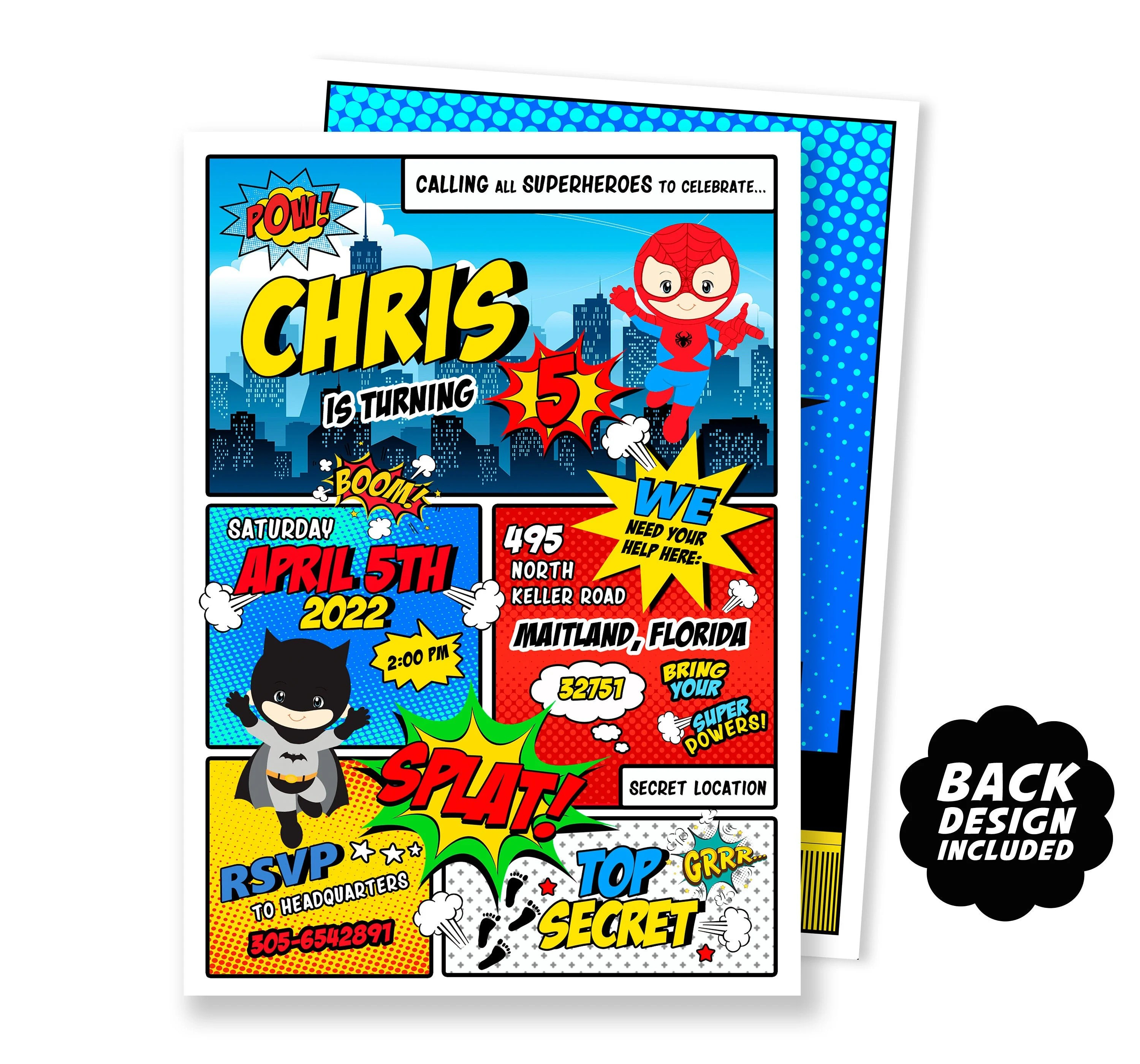 comic book birthday invitation