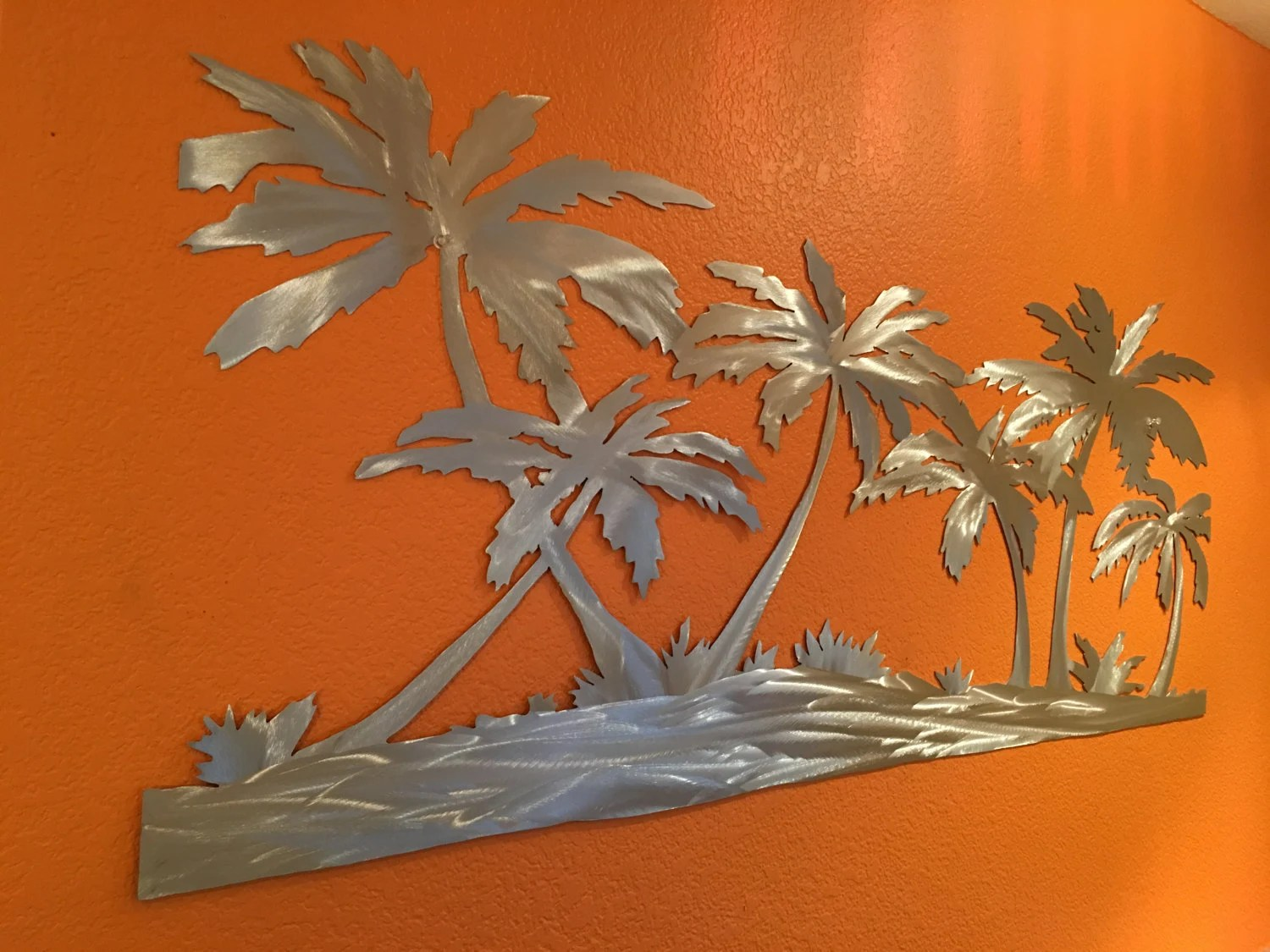 Palm Trees On The Beach Metal Wall Art. Tropical Artwork