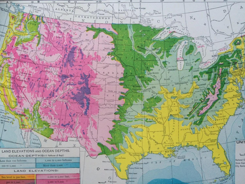 United States Showigg Land Elevation And Ocean Depths