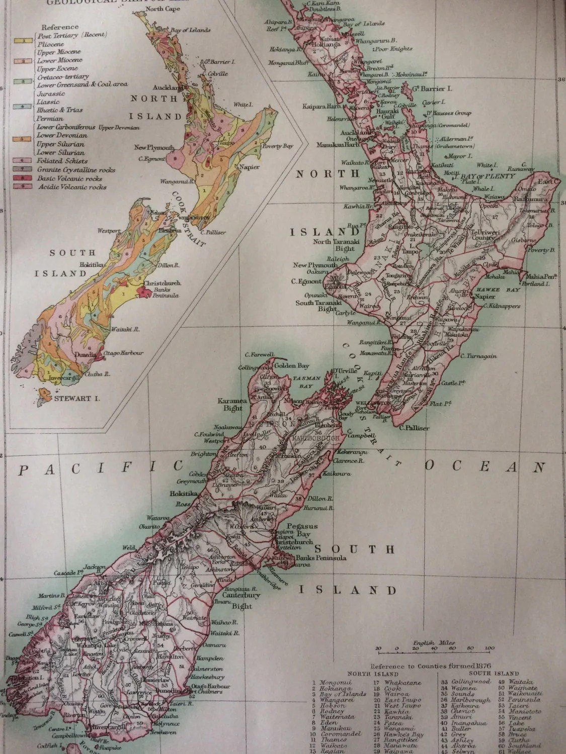 New Zealand Original Antique Map Cartography