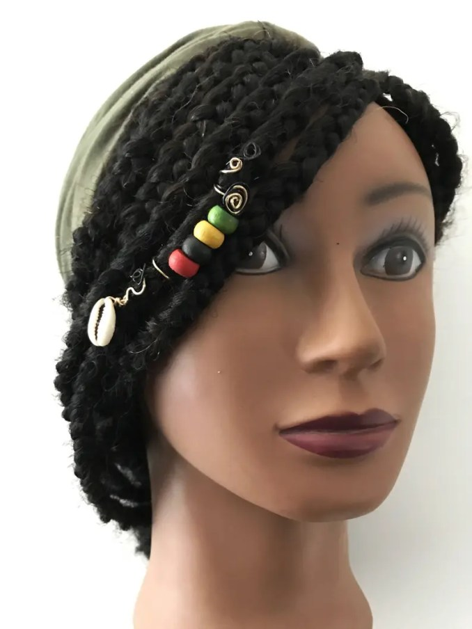 rasta, loc jewelry, hair jewelry for braids, loc jewelry hair accessories, braid hair accessory, braid jewelry, dread cuffs, hair braid cuff